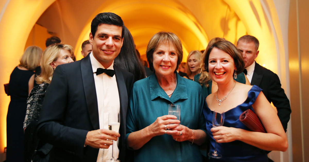 Actress Dame Penelope Wilton and supporter Richard Perlhagen enjoying the evening at Banqueting House